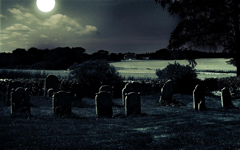 Silent Moonlit Cemetary